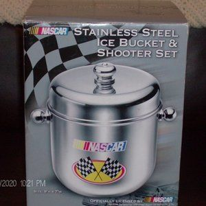 nascar stainless steel ice bucket and shooter set